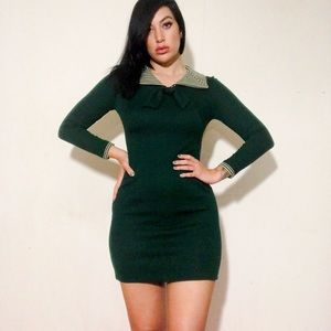 Dresses & Skirts - 60s Dark Green Babydoll Mini Dress 🧚🏼‍♀️ XS S